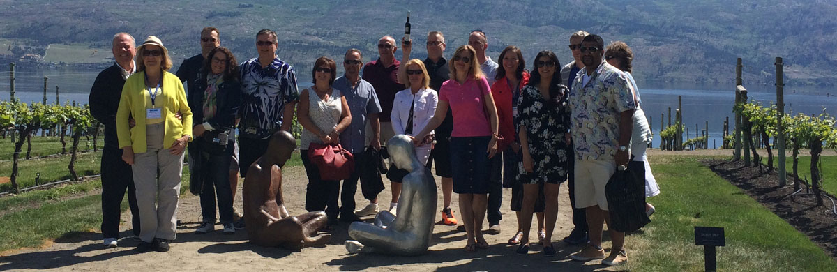 Group having fun at one of the Okanagan wineries