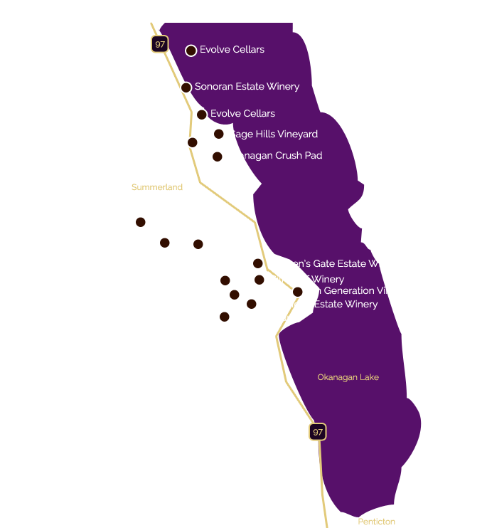 wine tour map showing Summerland wineries