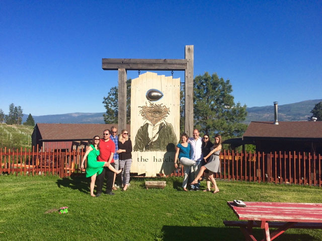 Group in front of the Hatch Winery sign