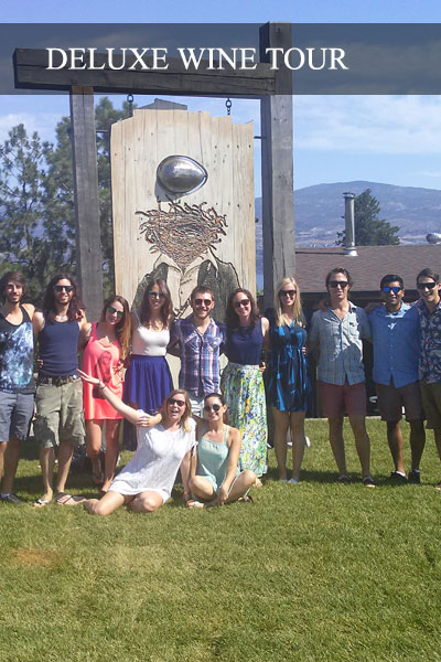 A group of young people enjoying the Deluxe Wine Tour in the Okanagan